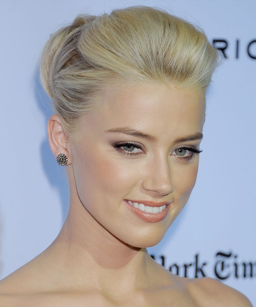 Amber Heard Formal Long Straight Updo Hairstyle Light