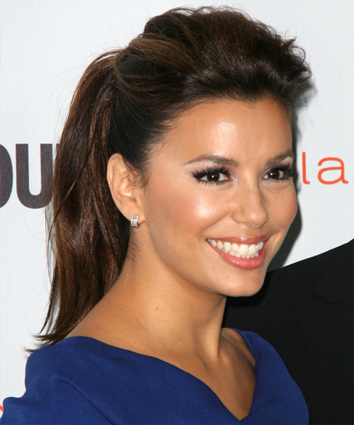 Eva Longoria Parker Long Straight Casual Updo Hairstyle