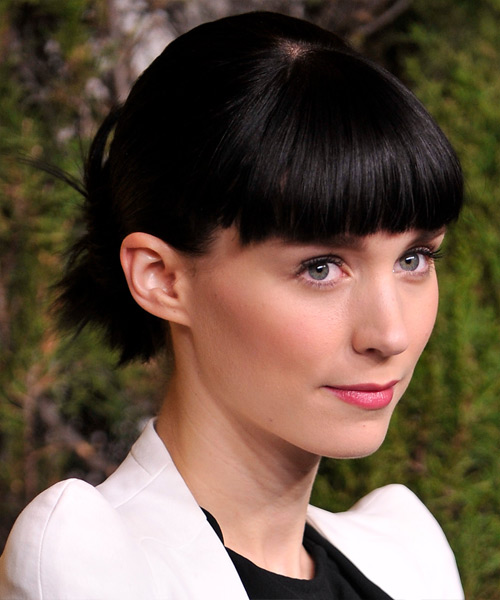 Rooney Mara Long Straight Casual Updo Hairstyle With Blunt