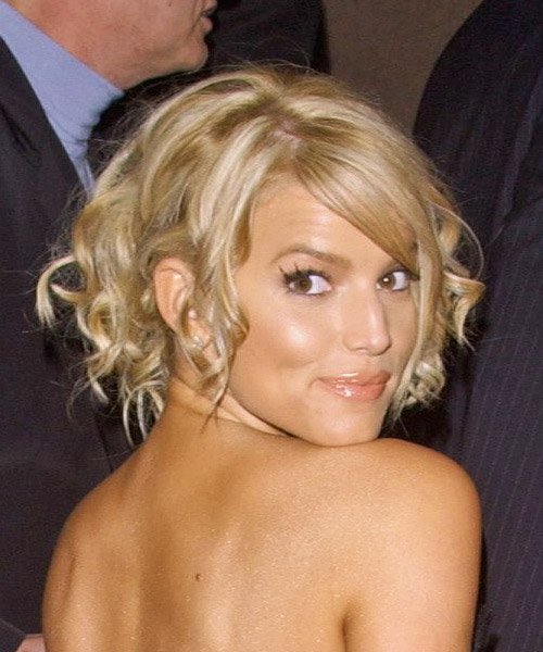 Jessica Simpson Medium Curly Formal Updo Hairstyle With