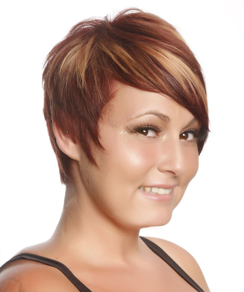 Casual Short Straight Hairstyle  Burgundy Red Hair Color