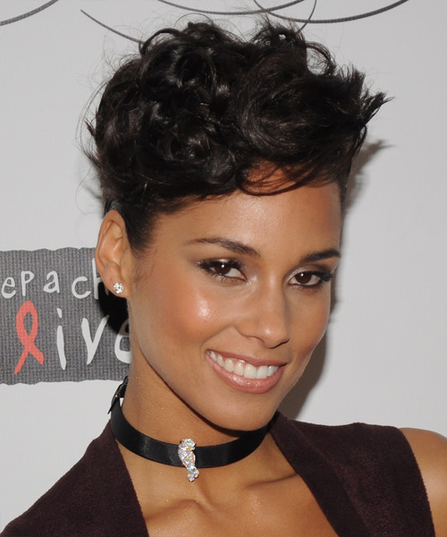Alicia Keys Formal Medium Curly Updo Hairstyle Dark