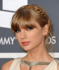 Taylor Swift Long Straight Formal Braided Updo Hairstyle