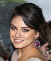 mila kunis long curly casual updo