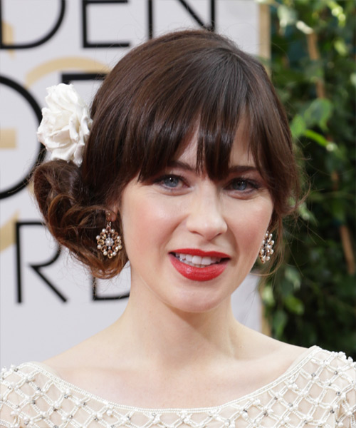 Zooey Deschanel Formal Long Curly Updo Hairstyle With