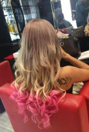 pink curly tips hairstyles