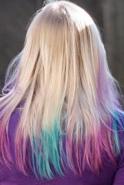 pink & blue pastel tips hairstyles