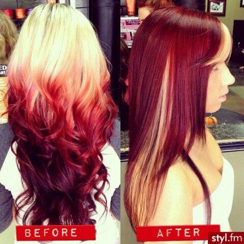 before after red hairstyles how to