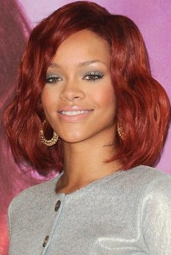 Rihanna red long bob