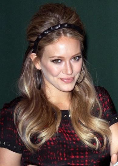 Hilary Duff Long Retro Hairstyle with Headband