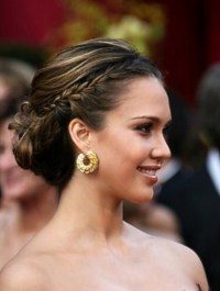 Jessica Alba Braided bun - Hairstyles Weekly
