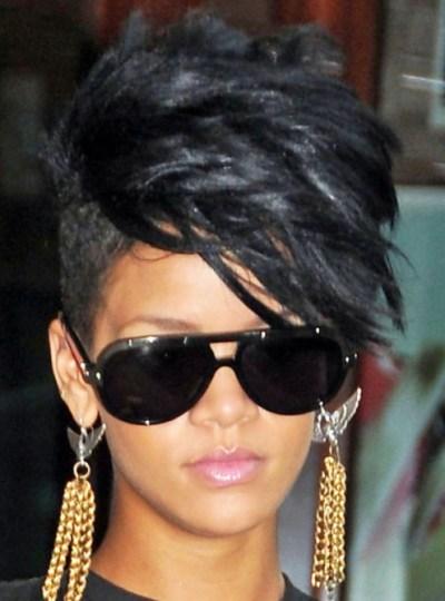 Rihanna Black Fauxhawk Hairstyle