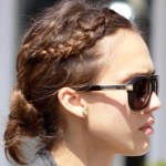 Jessica Alba Cute Braided Bun Hairstyle 2013