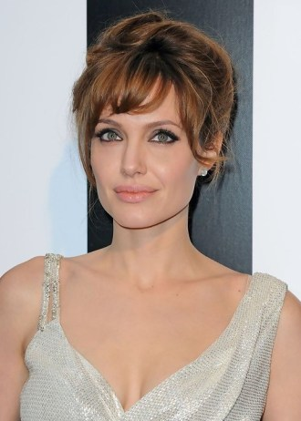 Angelina Jolie Loose Updo with Soft Bangs