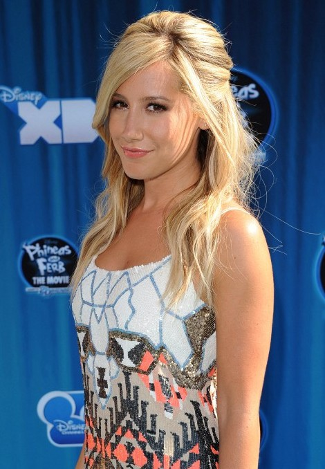 Ashley Tisdale Teased Long Blonde Half Up Half Down