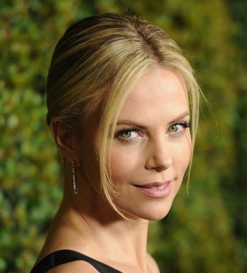 Charlize Theron Sexy Blonde Sleek Classic Bun Updo