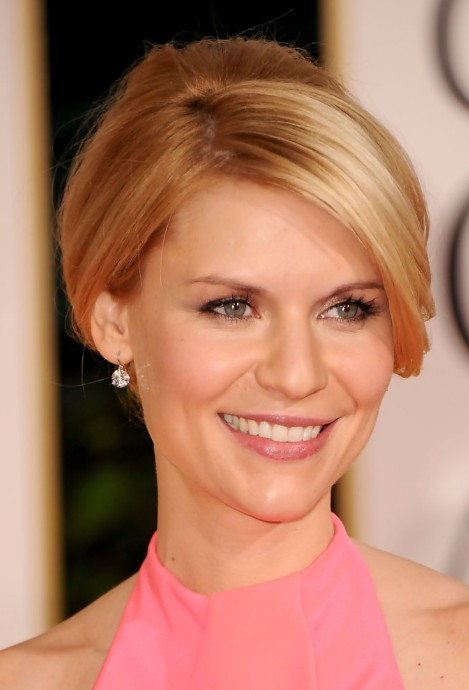 Claire Danes Elegant Casual French Twist Updo with Bangs