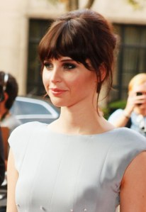 Felicity Jones Hairstyle with Long Blunt Bangs
