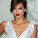 Jessica Alba Messy Updo with Side Bangs