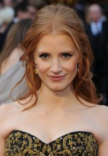 Jessica Chastain Half Up Half Down Red Formal Hairstyles