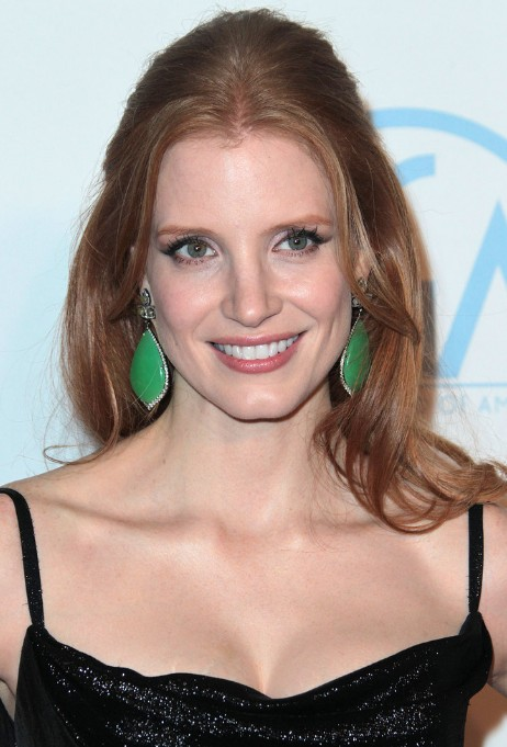 Jessica Chastain Simple Easy Half Up Half Down Hairdo