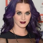 Katy Perry Long Wavy Purple Hairstyle