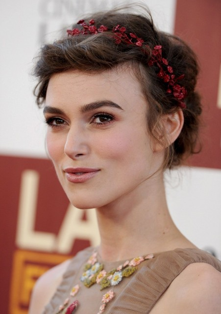 Keira Knightley Romantic Braided Updo 2013
