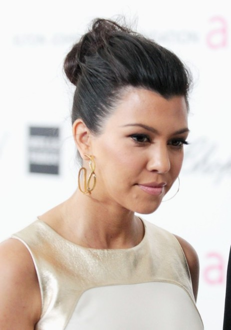 Kourtney Kardashian Casual Loose Bun Updo Hair Style 2013