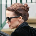 Kylie Minogue Casual Daily Bun Updo Hairstyle for Short Hair 2013