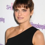 Lake Bell Messy Bun Updo Hairstyle with Wispy Bangs 2013 hairstyles