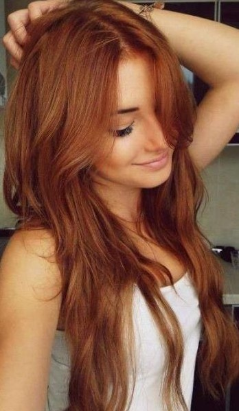 Layered Auburn Red Hairstyle for Long Hair