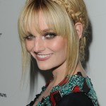 Lydia Hearst Cute Polished Braided Updo with Bangs