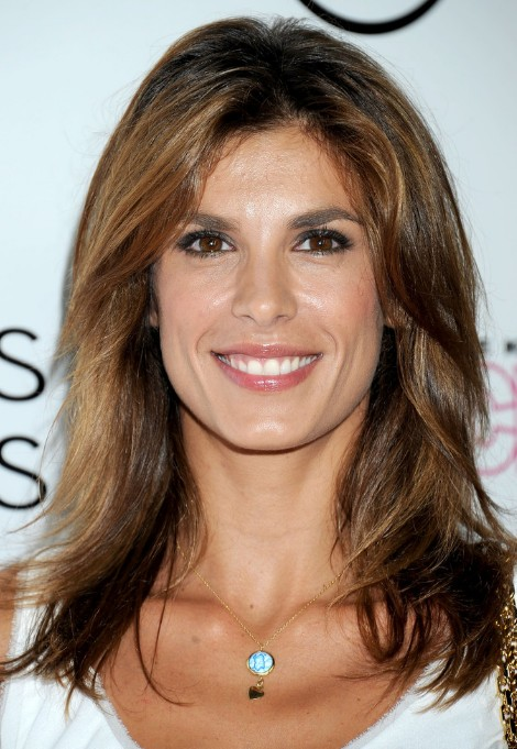 Elisabetta Canalis Medium Wavy Hairstyle with Highlights