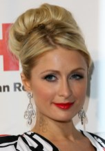 Paris Hilton Sophisticated High Bun Wedding Updo Hairstyle