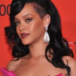 Rihanna Long Black Curly Hairstyle 2012 - 2013