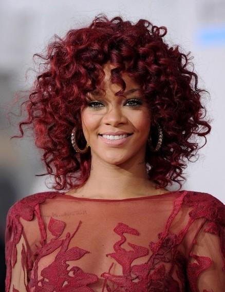 Rihanna Medium Length Red Curly Hairstyle