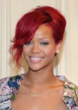 Rihanna Red Hairstyle - Rihanna Red Updo Hairstyle