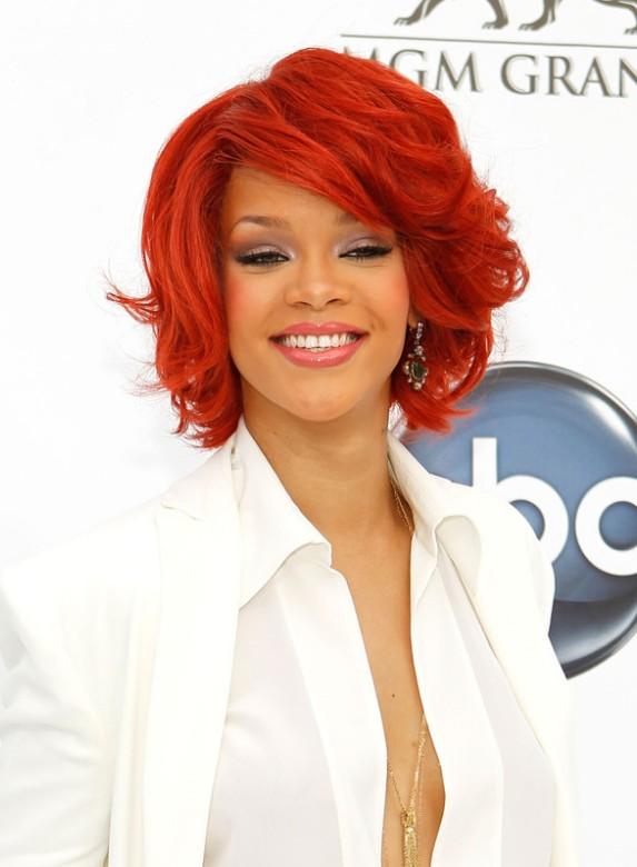 Rihanna red curly bob hairstyle