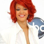Rihanna red curly bob hairstyle
