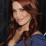 Sexy Long Wavy Red Hairstyles with Side Bangs