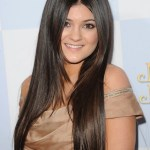 Kylie Jenner Center Parted Sleek Haircuts for Long Hair