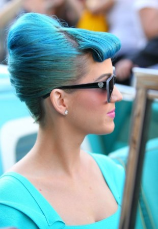 Stylish Blue French Twist Updo with Rolled Bangs