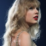 Taylor Swift Curly Hairstyle with Soft Wispy Bangs