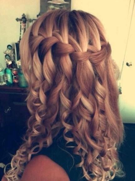 Waterfall Braid for Long Curly Hair