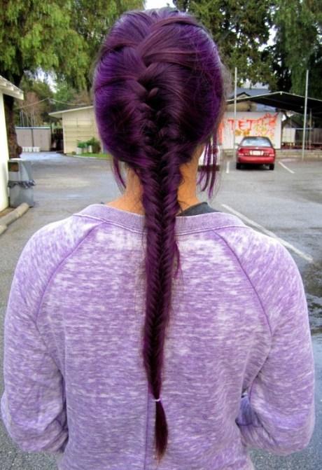 Purple French Fishtail Braid  for Long Hair