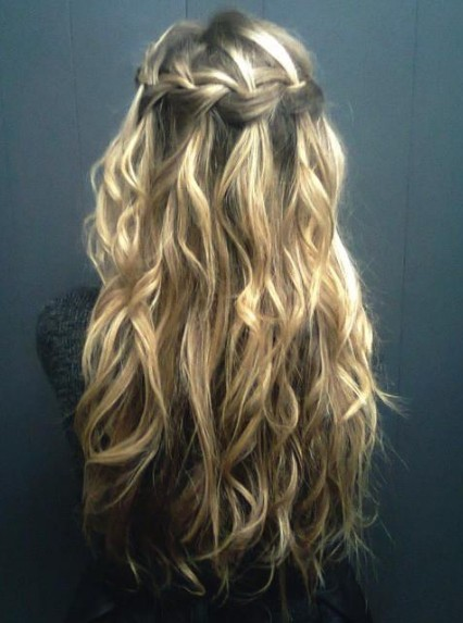 Waterfall Braid For Curly Hair Long Curly Hairstyle With Braid