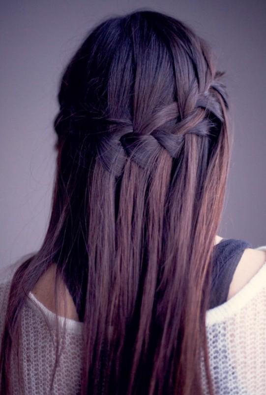 Waterfall Braid for Long Straight Hair Sleek Long Hairstyle with Braid