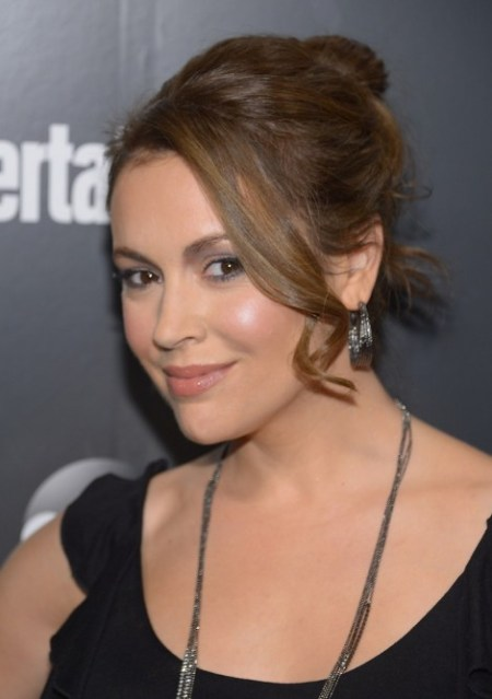 2013 Updos:  Alyssa Milano Loose Bun Updo with Sexy Long Curls