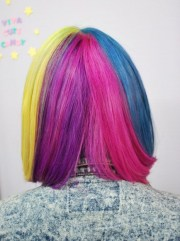 short straight rainbow bob hairstyle