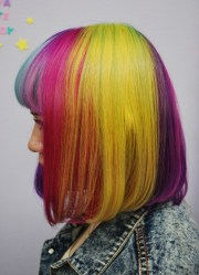 short straight rainbow bob hairstyle